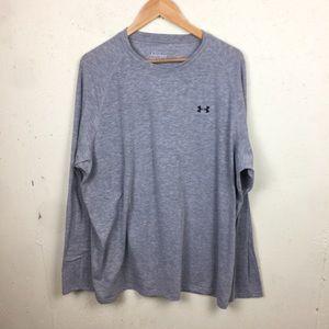 UA Loose Gray Long Sleeve Heatgear Shirt XXL